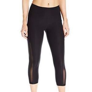 Black Power Mesh Insert Capri Athletic Leggings